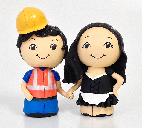 Animated Construction Worker & Maid wedding cake topper peg