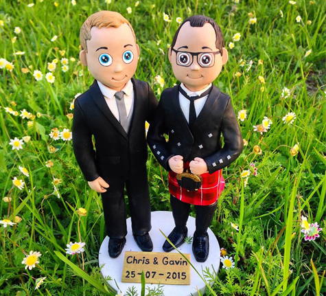 Scottish Animated polymer clay wedding cake topper