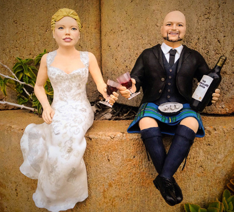 Scottish wedding cake topper drinking chocolate block wine