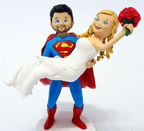 Personalized Animated superman wedding cake topper