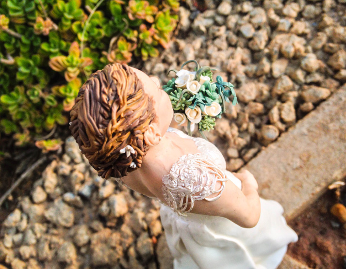 polymer clay hair and bouquet