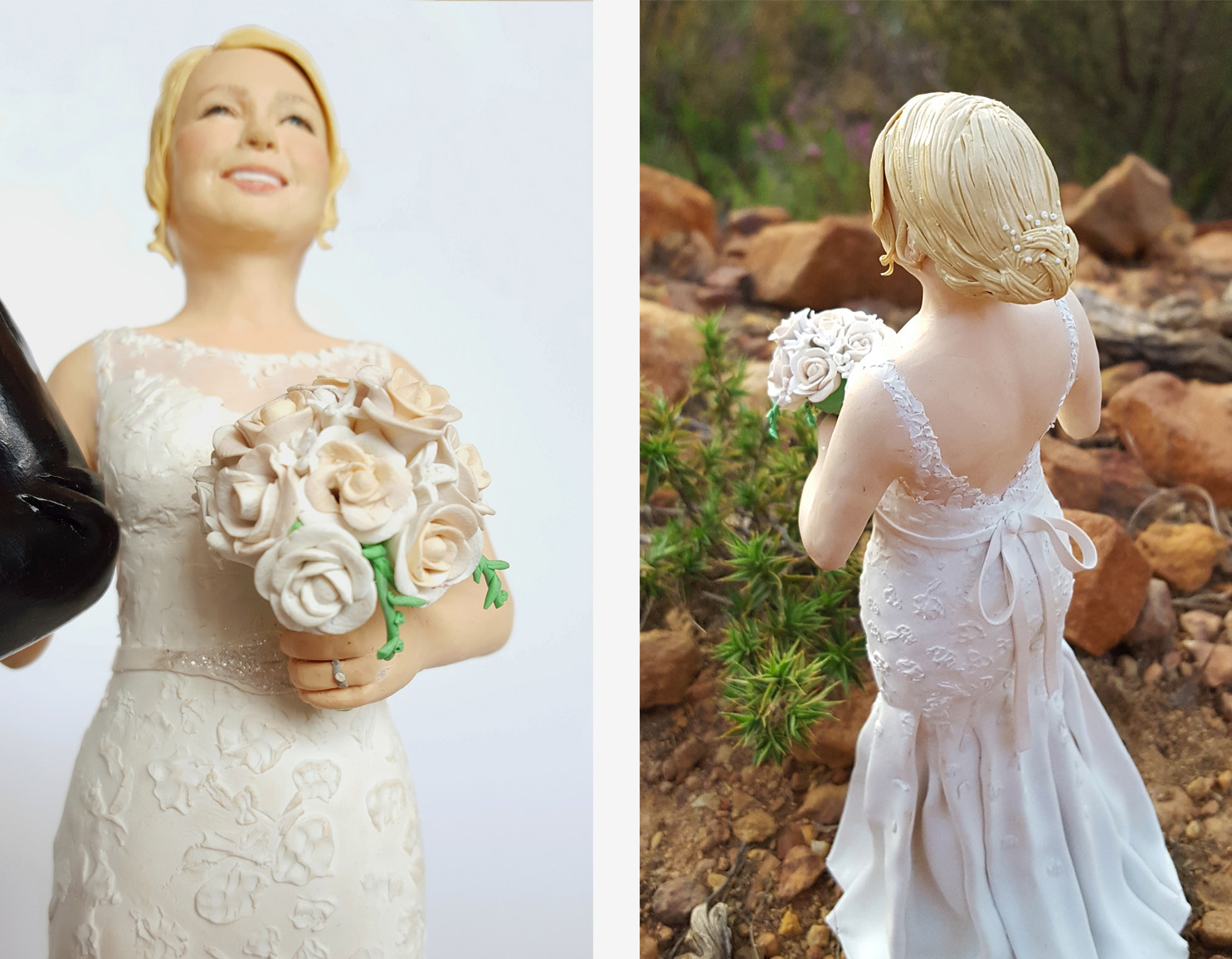 extremely detailed wedding cake topper bride figurine